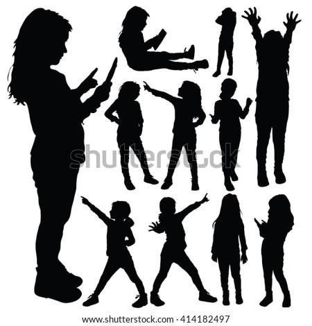 child set silhouette illustration in black color - stock vector