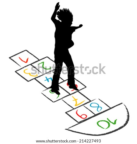 Child silhouette jumping over hopscotch - stock vector