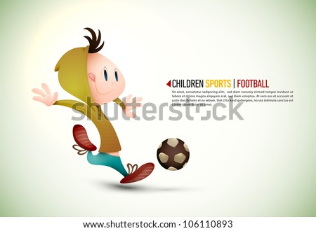 Child Soccer Player PLaying Football | EPS10 Vector Background | Layers Organized and Named Accordingly - stock vector