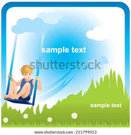 Child swinging on a swing - stock vector