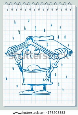 Child using book like protection of rain. - stock vector