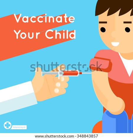 Child vaccination concept poster. Medical immunization, patient healthcare, vector illustration - stock vector