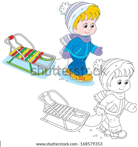 Child walking with a sleigh - stock vector
