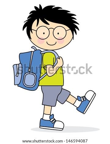 Child who goes to school with a backpack - stock vector