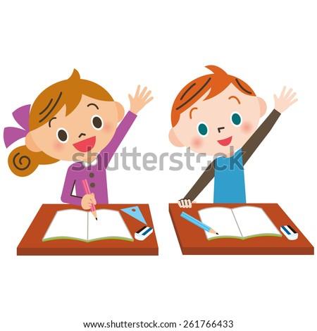 child who raises hand well - stock vector