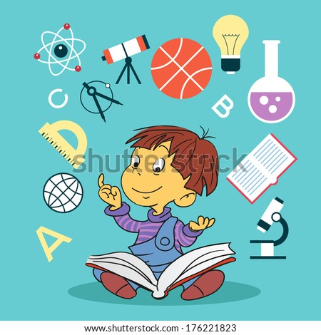 child with book and education icons. Concept of education - stock vector