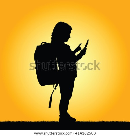 child with tablet illustration silhouette - stock vector