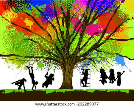 childhood. colorful tree. Vector - stock vector