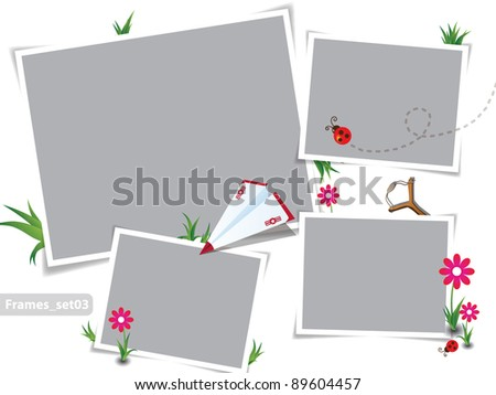 Childhood summer photo frames - stock vector