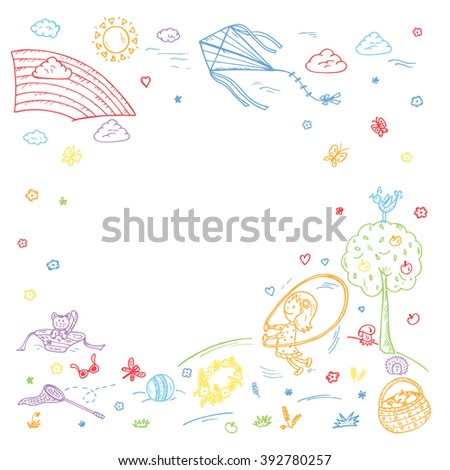 Childhood. Summer vacation. Hand drawn doodle little girl playing in the Park. Background for kids. Children frame. Birthday Card Template - stock vector