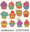 Childish and delicious cupcakes set - stock vector