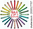 Childish Back to school round frame made of sketchy hand drawn wax crayons and hand written lettering. - stock vector