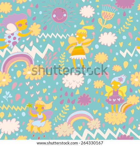 Childish bright seamless pattern with fairies on clouds in the sky with sun, rainbows, hearts and flowers. Seamless pattern can be used for pattern fills, web page backgrounds, surface textures - stock vector