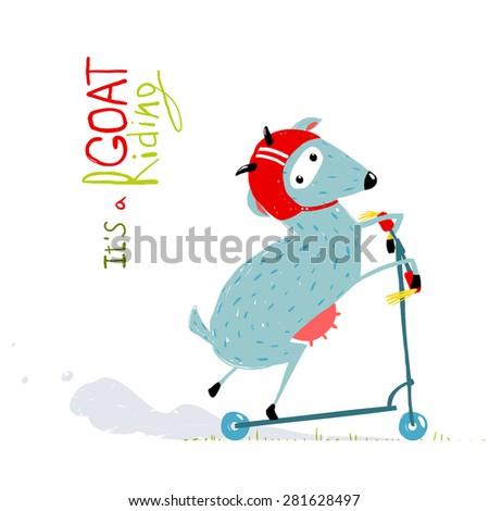 Childish Colorful Fun Cartoon Goat Riding Scooter. Amusing skating animal illustration for children. Vector EPS10. - stock vector