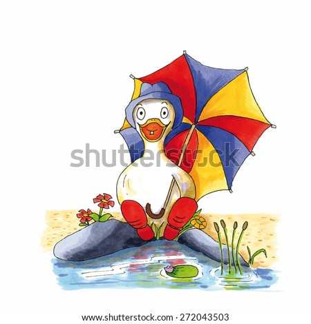 Childish funny duck illustration sitting near lake with boots and umbrella - stock vector