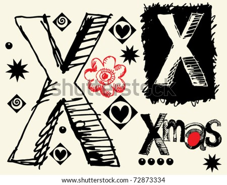childish hand drawn alphabet, crazy doodle X - stock vector