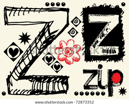 childish hand drawn alphabet, crazy doodle Z - stock vector