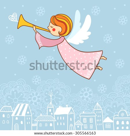 Childish Merry Christmas card with cartoon Fairy in the sky. Christmas angel. - stock vector