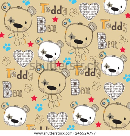 childish pattern with bear vector illustration - stock vector
