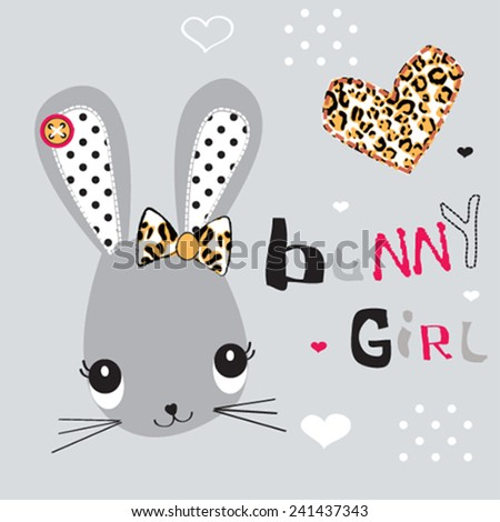 childish pattern with bunny girl vector illustration - stock vector