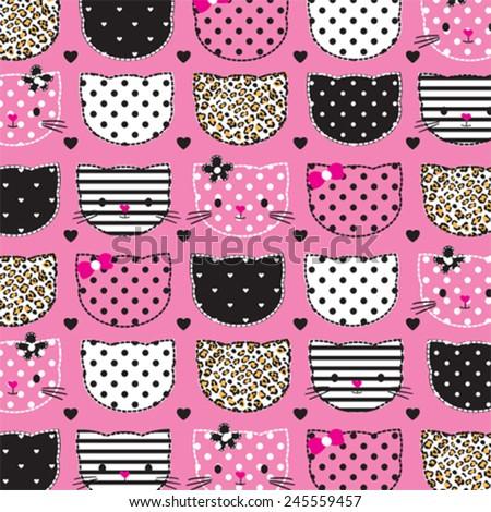 childish pattern with cat head vector illustration - stock vector
