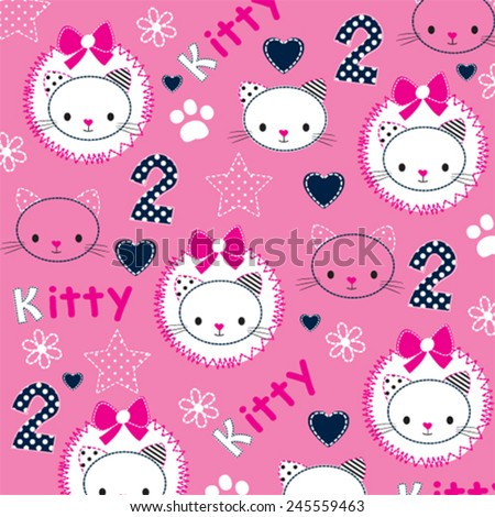 childish pattern with cute cat head vector illustration - stock vector