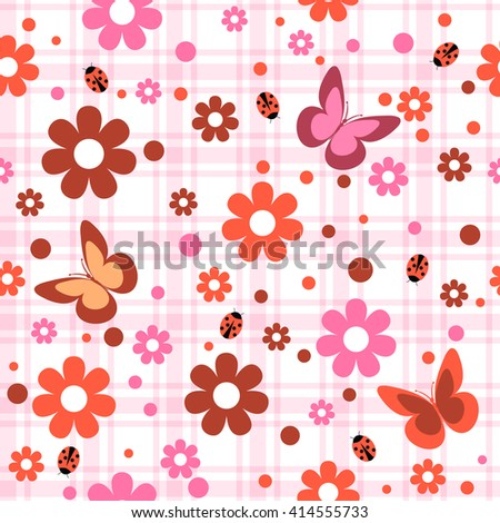 childish seamless pattern with flowers,  butterfly and spots  in plaid background , vector illustration - stock vector