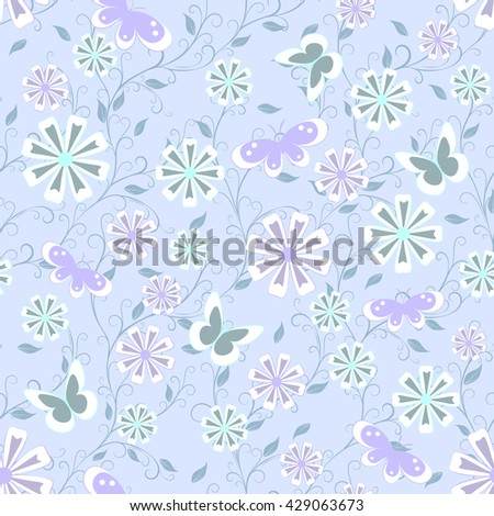 childish seamless pattern with flowers,  butterfly and spots  in soft color on blue background , vector illustration - stock vector
