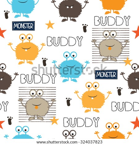childish seamless pattern with monsters vector illustration - stock vector
