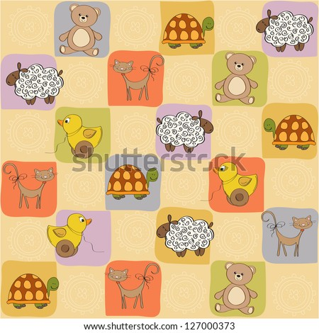 childish seamless pattern with toys, vector illustration - stock vector