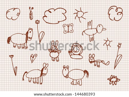 Childish style drawings vector set - stock vector