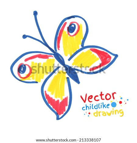 Childlike drawing of butterfly. Vector illustration. Isolated. - stock vector