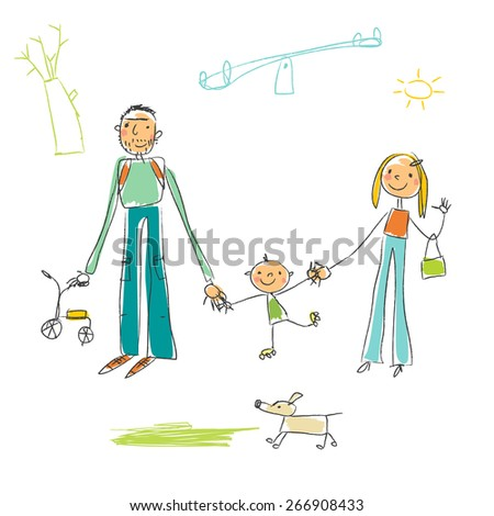 Childlike drawing with family playing, having fun in the park, outdoors. Vector doodle style sketchy drawing. - stock vector