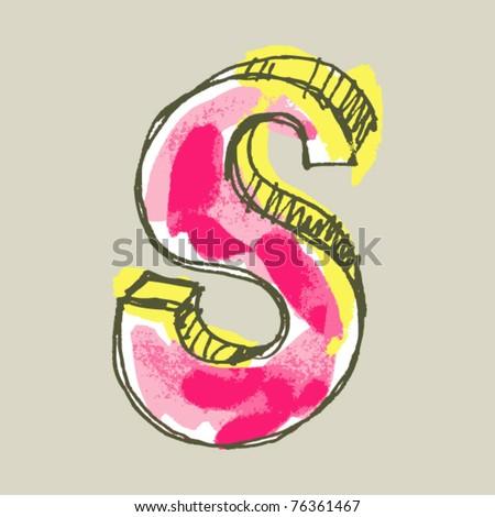 childlike gouache alphabet, hand drawn letter S - stock vector