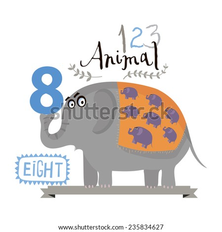 Children alphabet of animals and figures. Figure eight. Vector illustration. Part of a large set of vector numbers and animals - stock vector