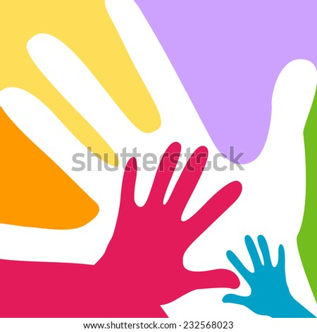 children and adults hands together - stock vector