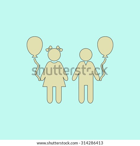 Children and Balloon. Flat simple line icon. Retro color modern vector illustration pictogram. Collection concept symbol for infographic, logo and project - stock vector