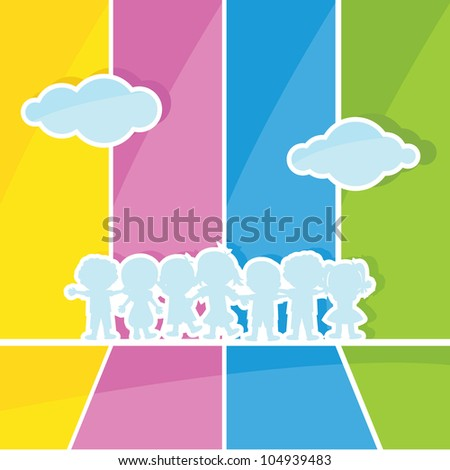 children and clouds silhouettes with colorful background - stock vector