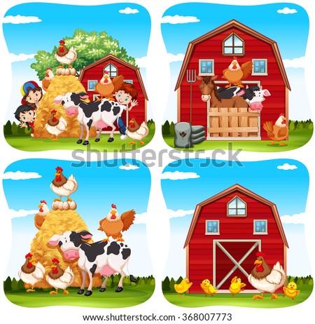 Children and farm animals on the farm illustration - stock vector