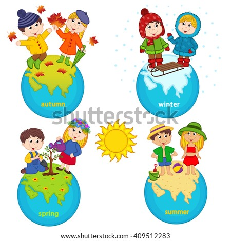 children and four seasons on the planet - vector illustration, eps  - stock vector