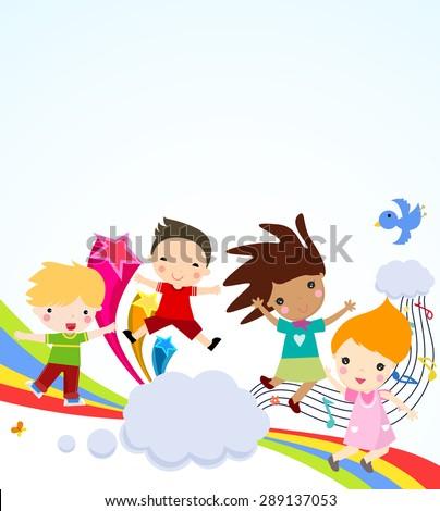 Children and rainbow - stock vector