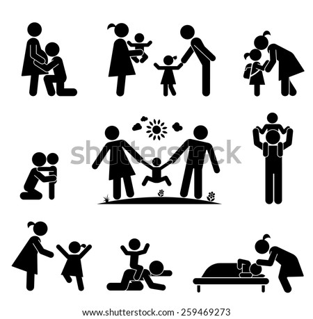 Children and their parents. Pictogram presenting parental love and care for children. Expecting baby, playing with children, hugging, preparing for school, putting children to bed. - stock vector