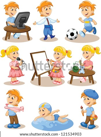Children are engaged in the hobbies - stock vector