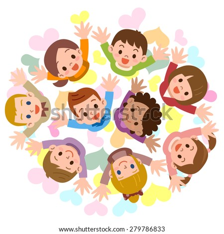 Children are looking up smiling - stock vector