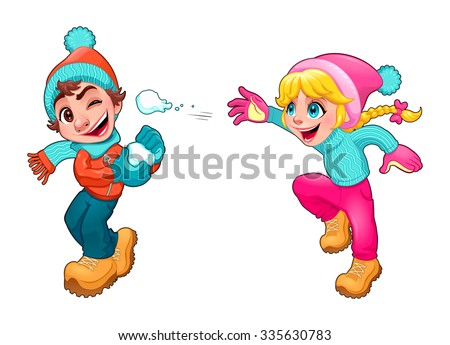 Children are playing with snow. Vector cartoon isolated characters. - stock vector