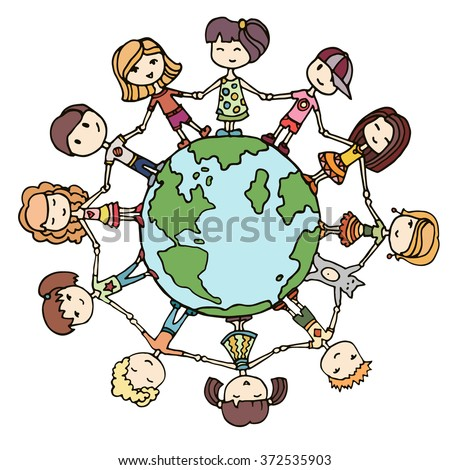Children around the world. Kids around the world. Earth day illustration with children - stock vector