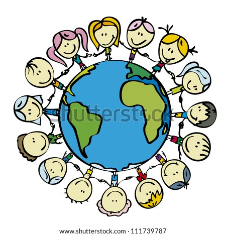 Children around the world save the planet earth holding hands - stock vector