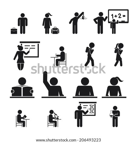 Children Back to School Icons vector silhouettes illustration - stock vector
