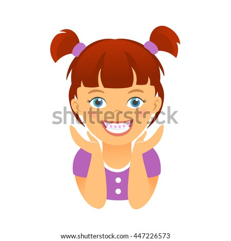 Children braces. Happy girl with beautiful smile teeth - stock vector