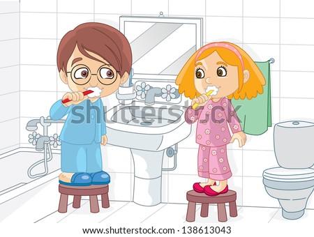 Children brushing - stock vector